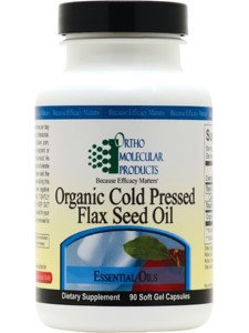 Ortho Molecular Products - Organic Cold Pressed Flax Seed Oil - 90 Softgels