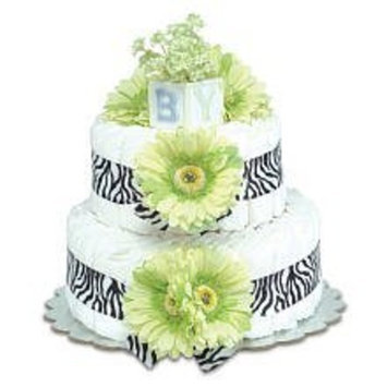 Bloomers Small Lime Green Daisy Diaper Cake