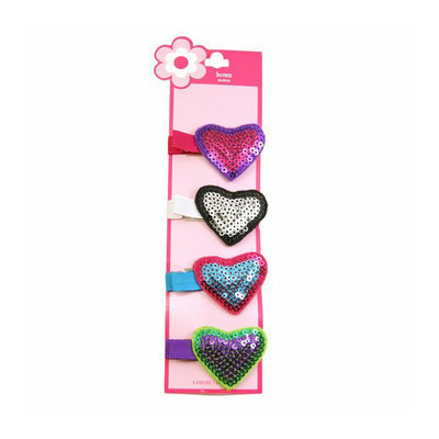 Girls' Sequin Heart Hair Clips