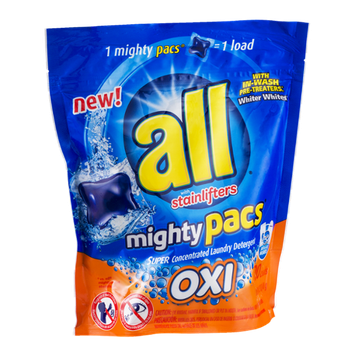 All Mighty Pacs Laundry Detergent with Stainlifters - 20 CT