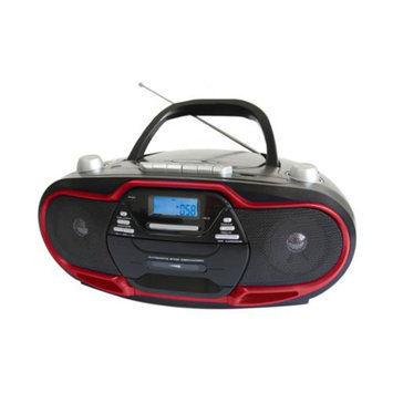 Supersonic Portable MP3/CD Player with USB/AUX Inputs, Cassette Recorder & AM/FM Radio- Red