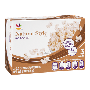 Ahold Popcorn Natural Style - 3 CT