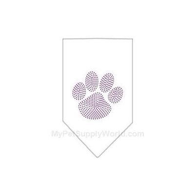 Ahi Paw Purple Rhinestone Bandana White Small