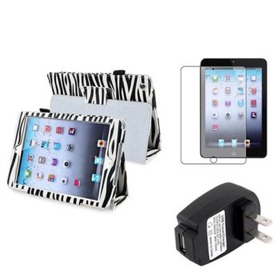 Insten iPad Mini 3/2/1 Case, by INSTEN for iPad Mini 3 2 1 Black Zebra Leather Case Stand Cover+Protector