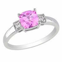 Amour Silver Diamond & Created Sapphire Checkerboard Ring, White, Pink, 8, 1 ea