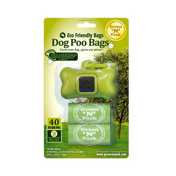 Green N Pack Eco Friendly Dog Waste Bags in Blister with Bone Dispenser, 2 - 20 count rolls