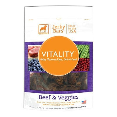 Dogswell Vitality Jerky Bars Dog Treats, Beef and Veggies, 15-Ounce Package