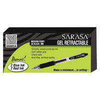 Zebra Sarasa Gel Pen, Medium - Black Ink (24 Per set)