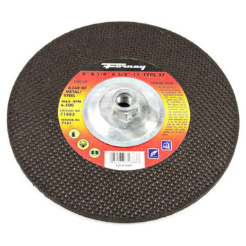 Forney 71883 Grinding Wheel with 5/8-Inch-11 Threaded Arbor Metal Type 27 A24R 9-Inch-by-1/4-Inch