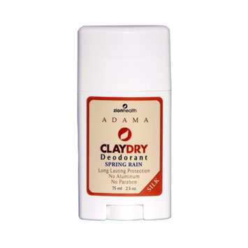 Adama Claydry Deodorant Spring Rain Zion Health 2.5 oz Stick