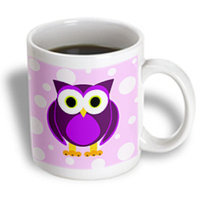 Recaro North 3dRose - Janna Salak Designs Woodland Creatures - Cute Purple Owl on Light Purple Background - 11 oz mug