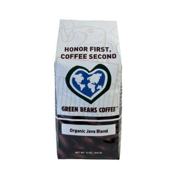 Green Beans Coffee Organic Java Blend, Whole Bean Coffee, 12-Ounce Bags (Pack of 2)