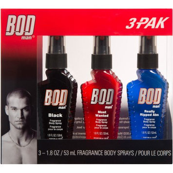 BOD Man Black/Most Wanted/Really Ripped Abs Fragrance Body Sprays, 1.8 oz, 3 count