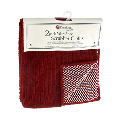Kitchen Trends 12x12 Red Microfiber Scrubber Cloths - 2 CT