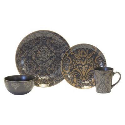 Baum Bros. Damask 16 Piece Dinneware Set - Grey & Tan