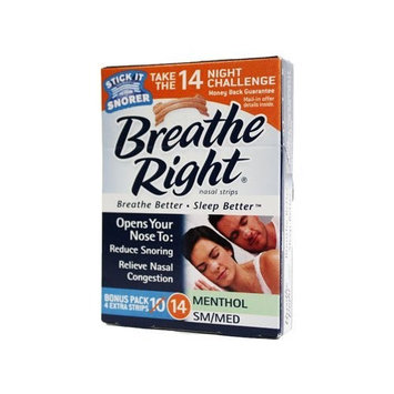 Breathe Right Nasal Strips, Menthol, SM/MED - 2 pack of 14 strips (total 28 ct.)