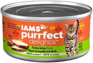 Iams Purrfect Delights Turkey-Lation Entrée Pate in Gravy Wet Cat Food, 3 Oz (Case of 24)