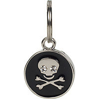 Dickens' Closet 10mm Black Enamel Skull Tag Charm, Color: Silver
