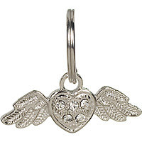 Dickens' Closet 10mm Clear Rhinestone Wings Tag Charm, Color: Silver