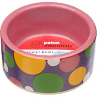 Petco Pink Polka Dot Ceramic Bowl