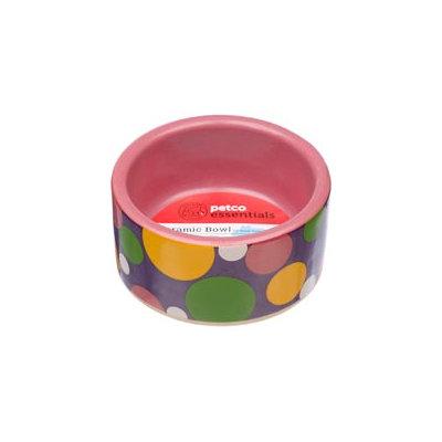 Petco Pink Polka Dot Ceramic Bowl