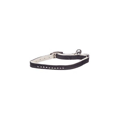 Petco Leather Adjustable Fancy Bling Stretch Cat Collar in Black