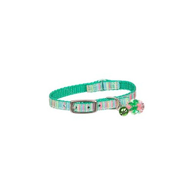 Petco Nylon Adjustable Green & Stripes Kitten Collar, For Necks up to 8