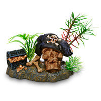 Petco Pirate Skull & Booty Aquarium Ornament, 3.5