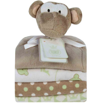 Piccolo Bambino Cuddly Pal with 3 Flannel Receiving Blanket,s Monkey, Gray, 1 ea
