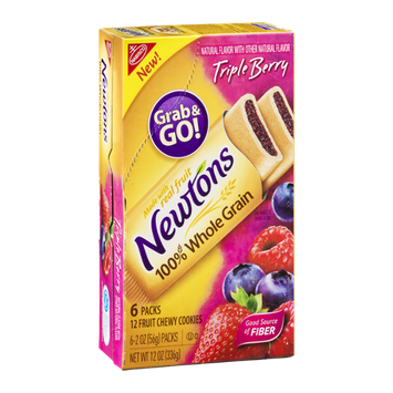 Newton's 100% Whole Grain Chewy Fruit Cookie Grab & Go! Packs Triple Berry Flavor - 6 CT