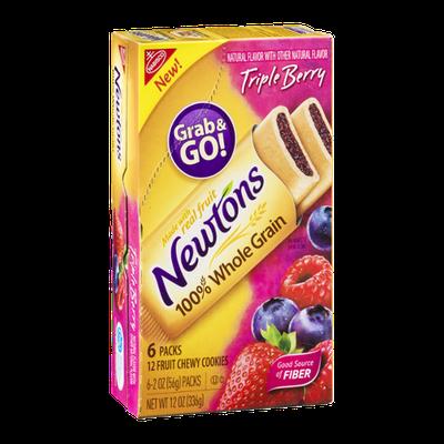 Newton's 100% Whole Grain Chewy Fruit Cookie Grab & Go! Packs Triple Berry Flavor - 6 CT