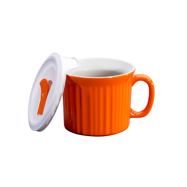 World Kitchen CorningWare French White 20 Ounce Pop-Ins Soup Mug - Orange
