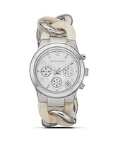 Michael Kors Silvertone and Cream Runway Twist Watch Women's