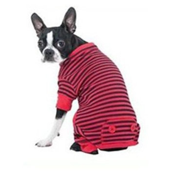 Fashion Pet Lookin Good Striped Pajamas for Dogs, XX-Small, Red