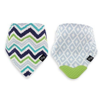 Hudson Baby Blue & Lime Chevron Bandanna Teething Bib - Set of Two