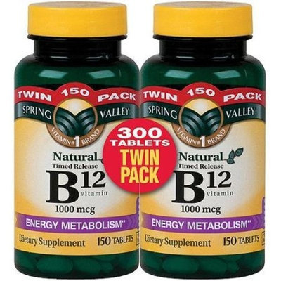 Spring Valley - Vitamin B-12, Timed Release 1000 mcg, 300 Tablets, Twin Pack