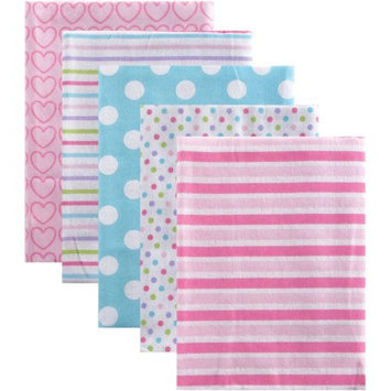 Luvable Friends 5 Pack Flannel Receiving Blankets - Pink