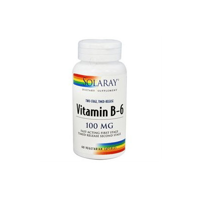 Solaray Vitamin B-6 - 100 mg - 60 Vegetarian Capsules