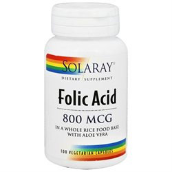 Solaray Folic Acid - 800 mcg - 100 Vegetarian Capsules