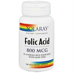 Solaray Folic Acid - 800 mcg - 100 Vegetarian Capsules