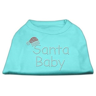 Mirage Pet Products 522510 MDAQ Santa Baby Rhinestone Shirts Aqua M 12