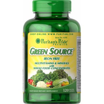 Puritan's Pride Green Source Iron Free Multivitamin & Minerals-120 Caplets