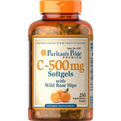 Puritan's Pride Vitamin C-500 mg with Rosehips-250 Softgels