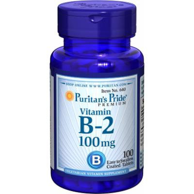 Puritan's Pride Vitamin B-2 (Riboflavin) 100 mg-100 Tablets