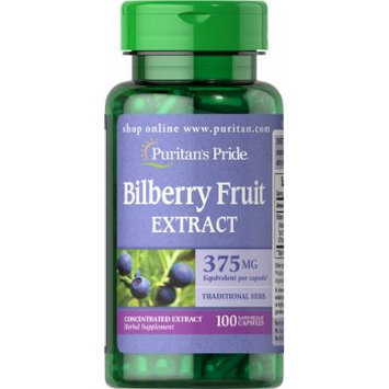 Puritan's Pride Bilberry 10:1 Extract 375 mg-100 Capsules
