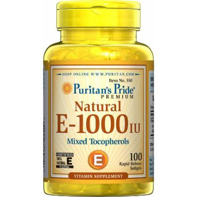 Puritan's Pride Vitamin E-1000 IU Mixed Tocopherols Natural-100 Softgels