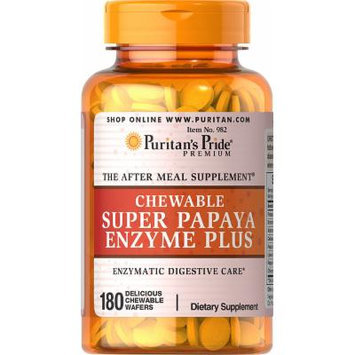 Puritan's Pride Chewable Super Papaya Enzyme Plus-180 Chewables