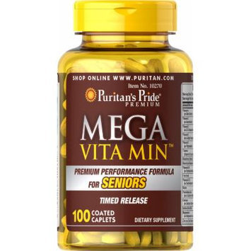 Puritan's Pride Mega Vita Min Multivitamin for Seniors Timed Release-100 Coated Caplets