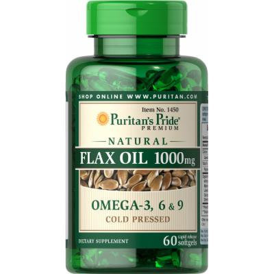 Puritan's Pride Natural Flax Oil 1000 mg-60 Rapid Release Softgels