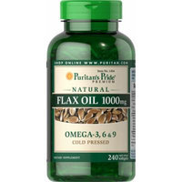 Puritan's Pride Natural Flax Oil 1000 mg-240 Rapid Release Softgels
